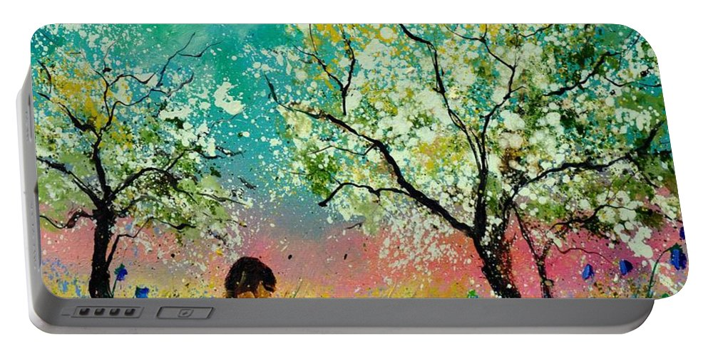 Landscape Portable Battery Charger featuring the painting In the orchard by Pol Ledent