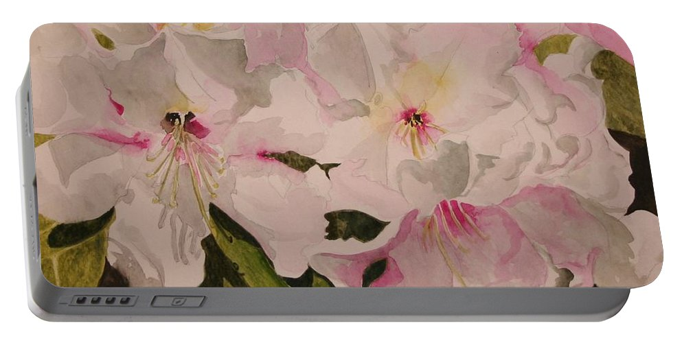 Pink Portable Battery Charger featuring the painting In The Pink by Jean Blackmer