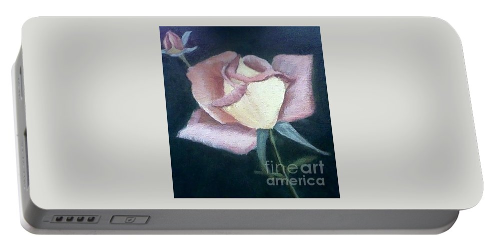 Roses Portable Battery Charger featuring the painting In The Pink by Joanne Dour