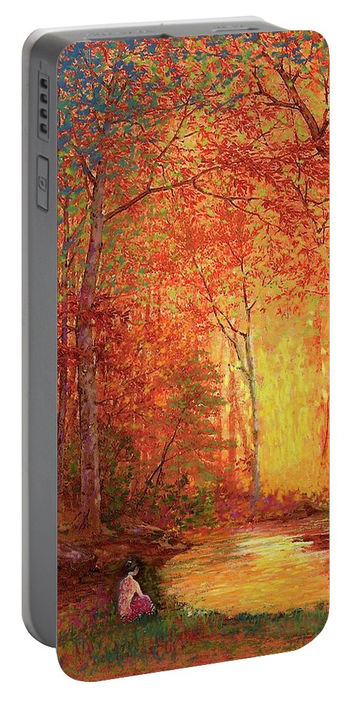 Meditation Portable Battery Charger featuring the painting In The Presence Of Light Meditation by Jane Small
