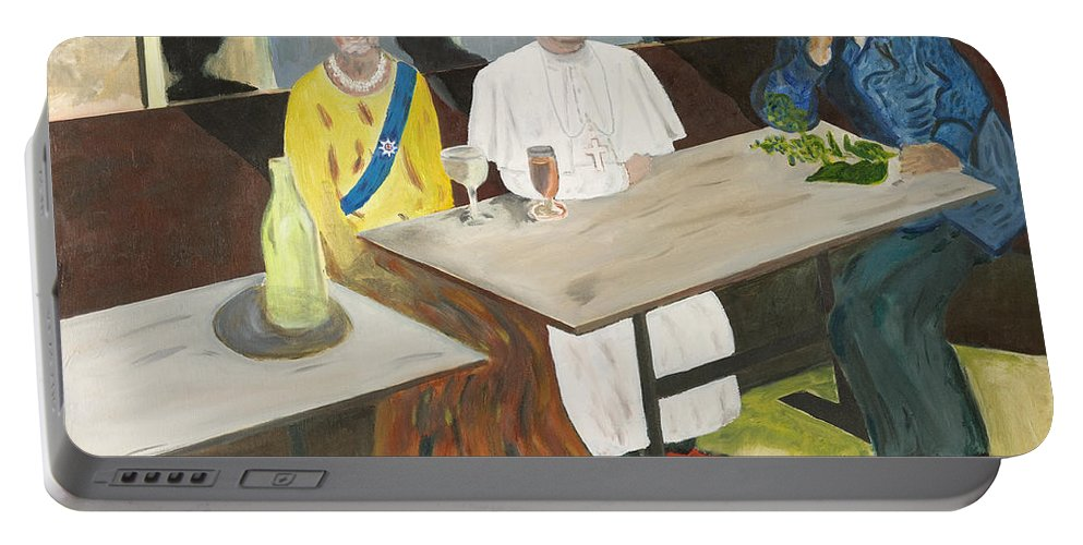 Pub Portable Battery Charger featuring the painting In The Pub by Avi Lehrer