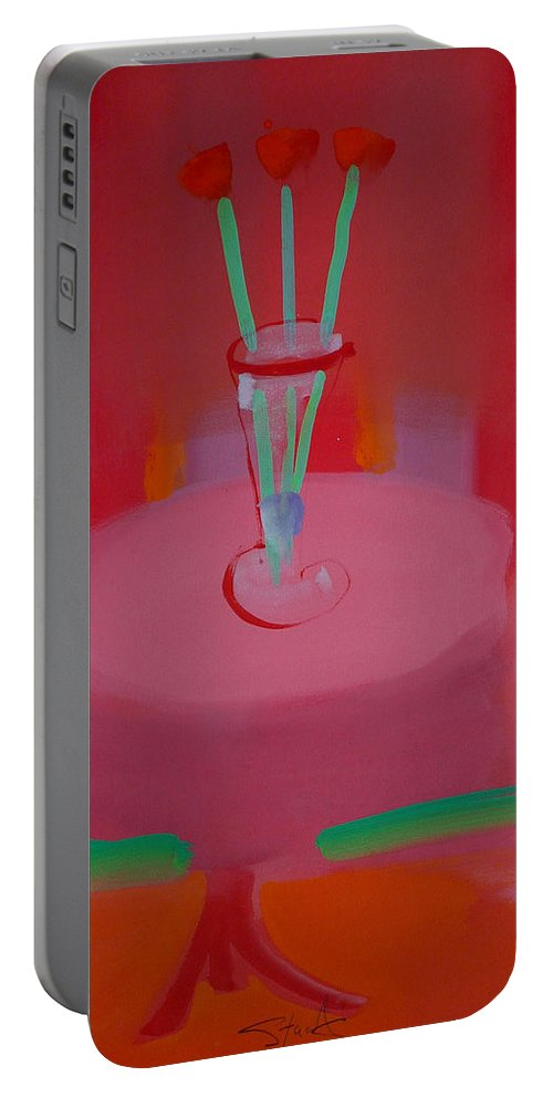 Vase Portable Battery Charger featuring the painting In The Red Room by Charles Stuart