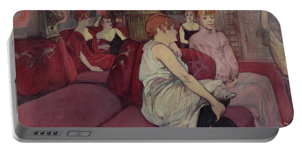 The Portable Battery Charger featuring the painting In The Salon At The Rue Des Moulins by Henri de Toulouse-Lautrec