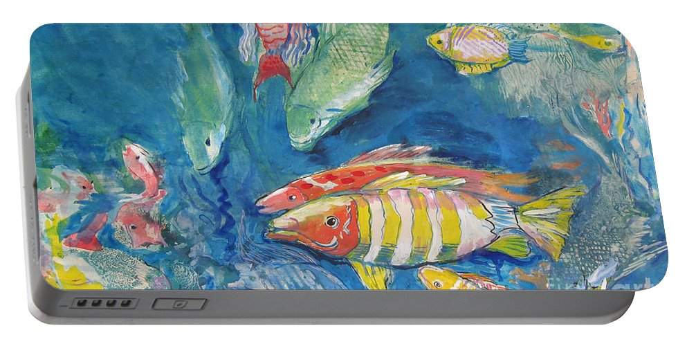 Water Portable Battery Charger featuring the painting In the Sea by Guanyu Shi