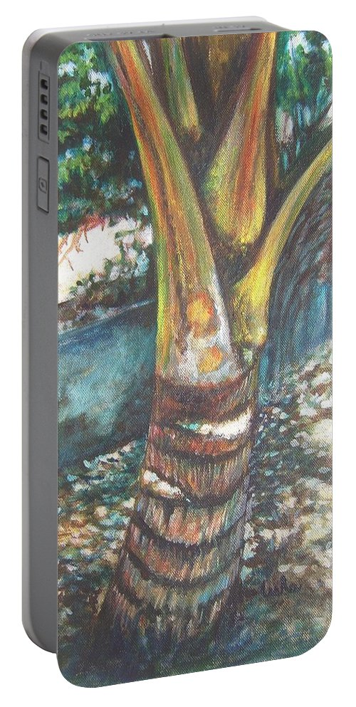 Shade Portable Battery Charger featuring the painting In The Shade by Usha Shantharam