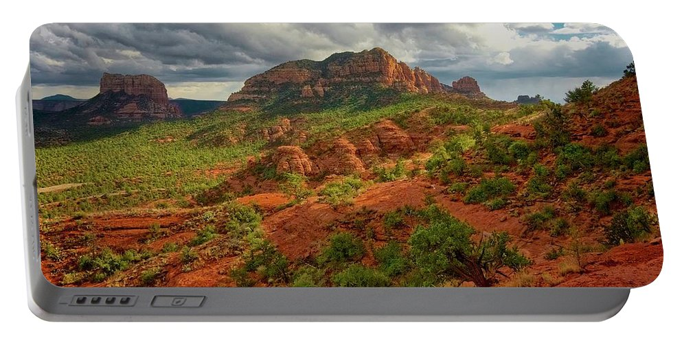 Nature Portable Battery Charger featuring the photograph In the Shadow of Cathedral Rock by Zayne Diamond Photographic