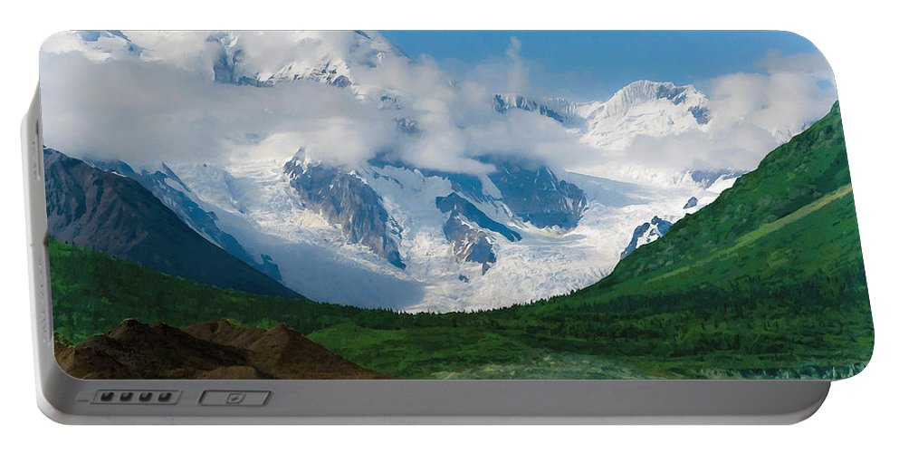 Alaska Portable Battery Charger featuring the digital art In The Valley by Max Steinwald