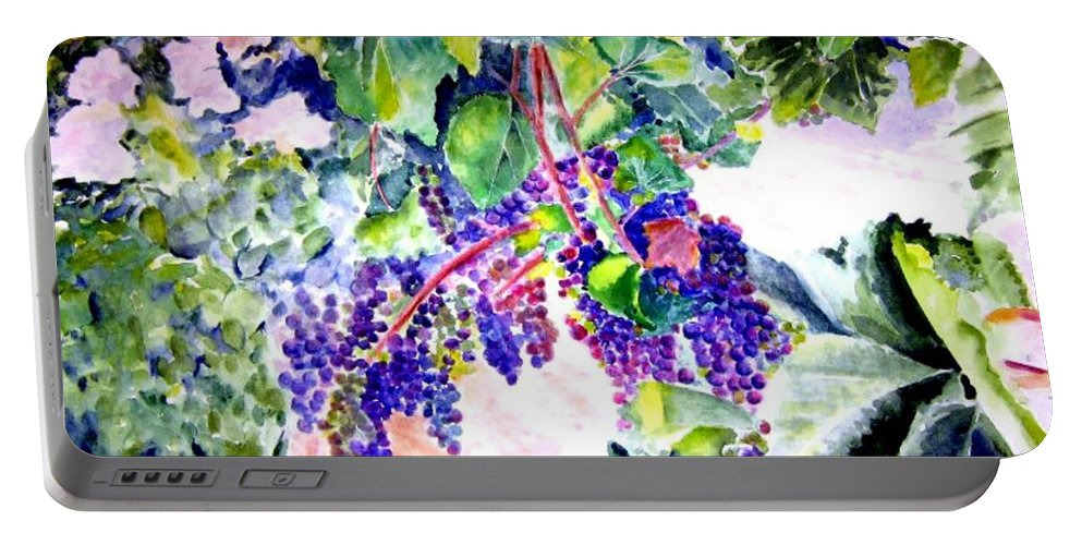 Napa Valley Portable Battery Charger featuring the painting In The Vineyards by Sandy Ryan