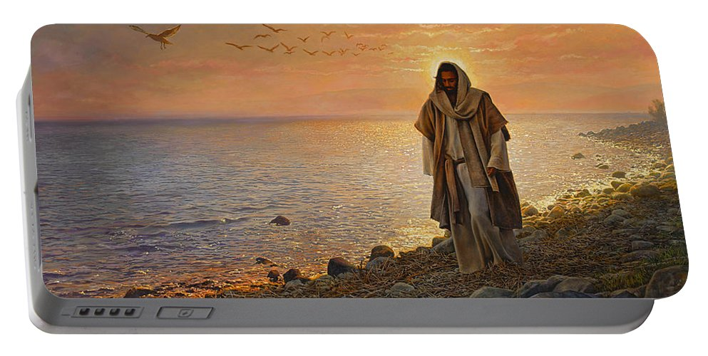 Jesus Portable Battery Charger featuring the painting In the World Not of the World by Greg Olsen