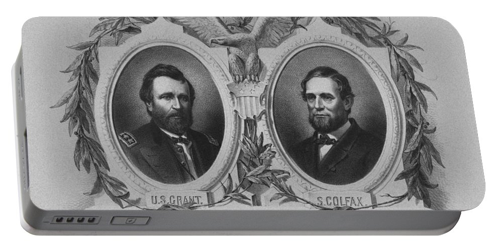 Us Grant Portable Battery Charger featuring the mixed media In Union Is Strength - Ulysses S. Grant And Schuyler Colfax by War Is Hell Store