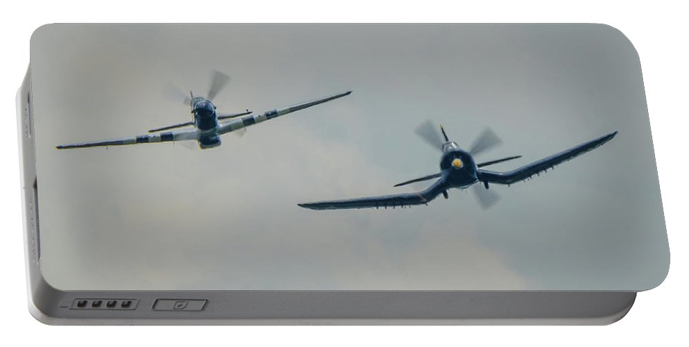 P-51 Mustang Portable Battery Charger featuring the photograph Inbound by Josh Vaughn