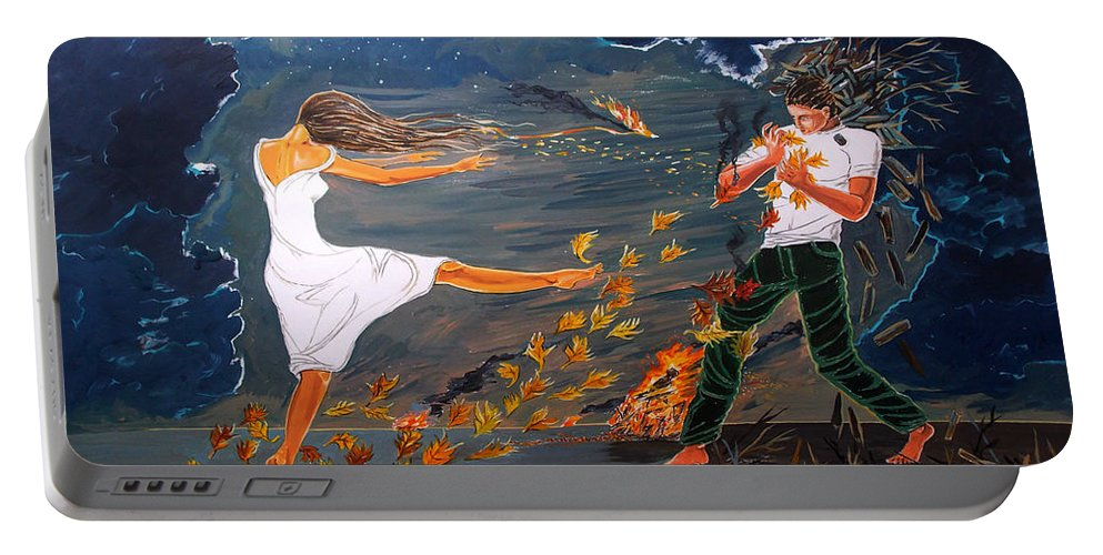 Surreal Portable Battery Charger featuring the painting Incendiary by Lazaro Hurtado