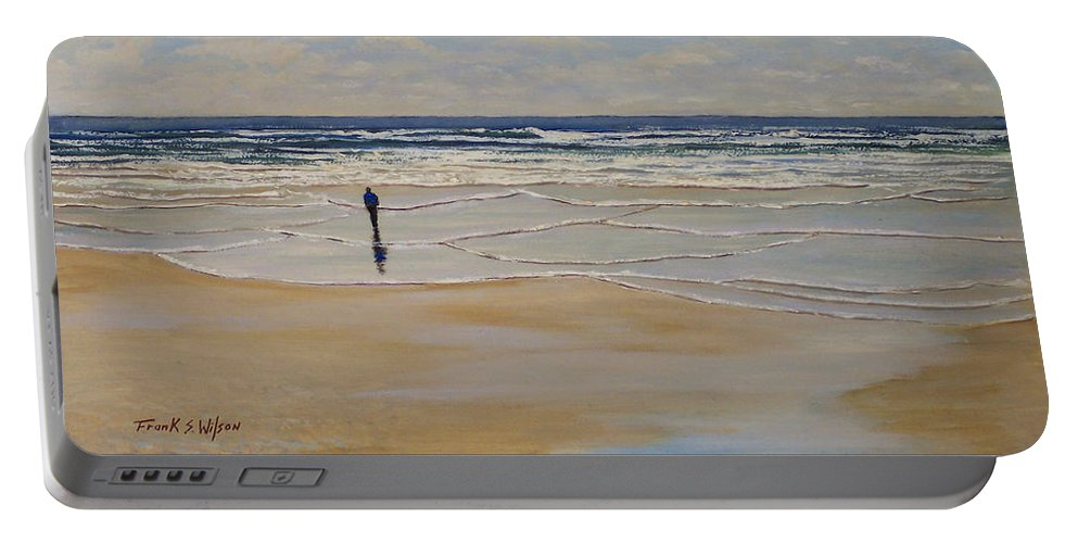 Beach Walk Portable Battery Charger featuring the painting Incoming Tide by Frank Wilson