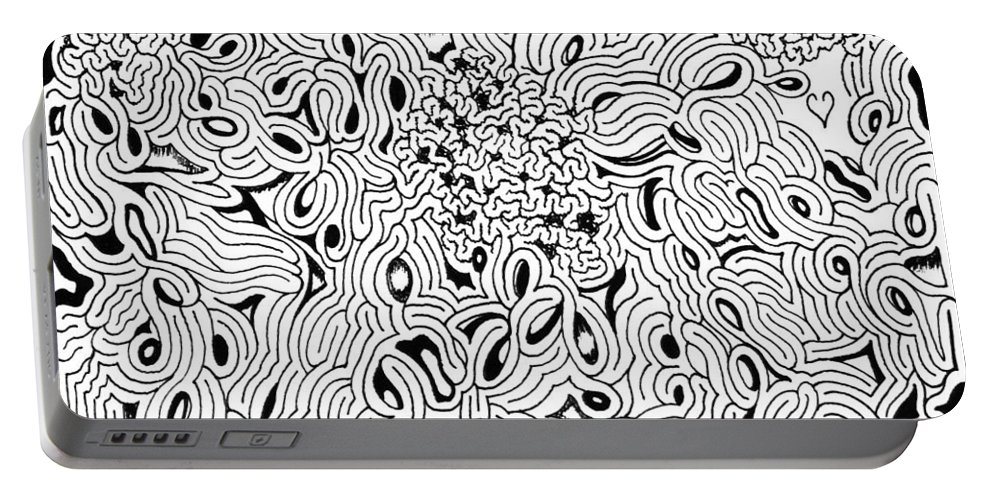 Mazes Portable Battery Charger featuring the drawing Incursion by Steven Natanson