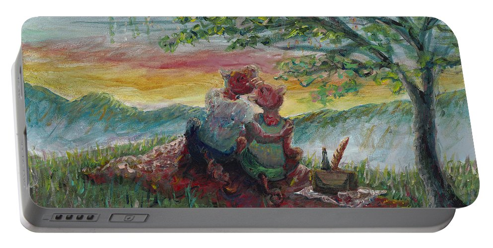 Landscape Portable Battery Charger featuring the painting Independance Day Pignic by Nadine Rippelmeyer