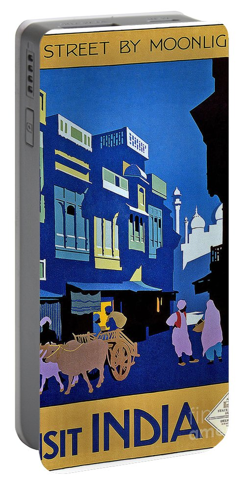 India Travel Poster Portable Battery Charger featuring the painting India Travel Poster by Pd