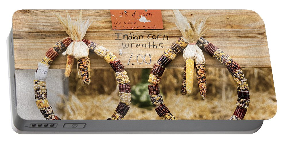 Indian Corn Wreaths Portable Battery Charger featuring the photograph Indian Corn Wreaths by Tracy Winter