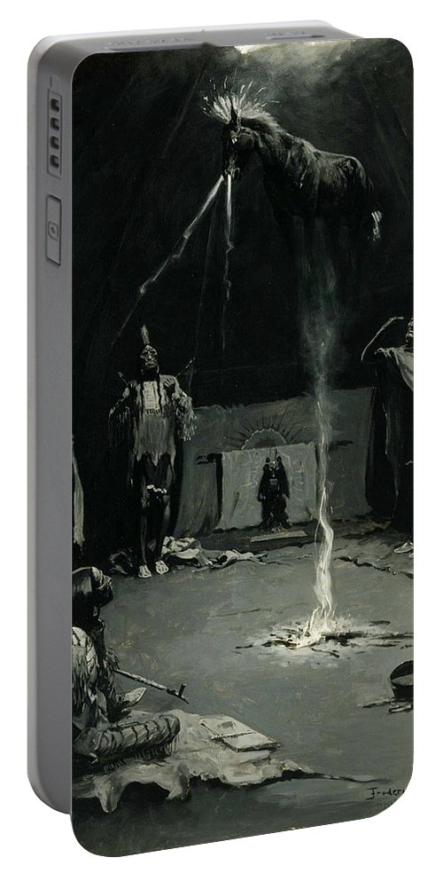 Native Americans Portable Battery Charger featuring the painting Indian Fire God -the Going Of The Medicine Horse by Frederic Sackrider Remington