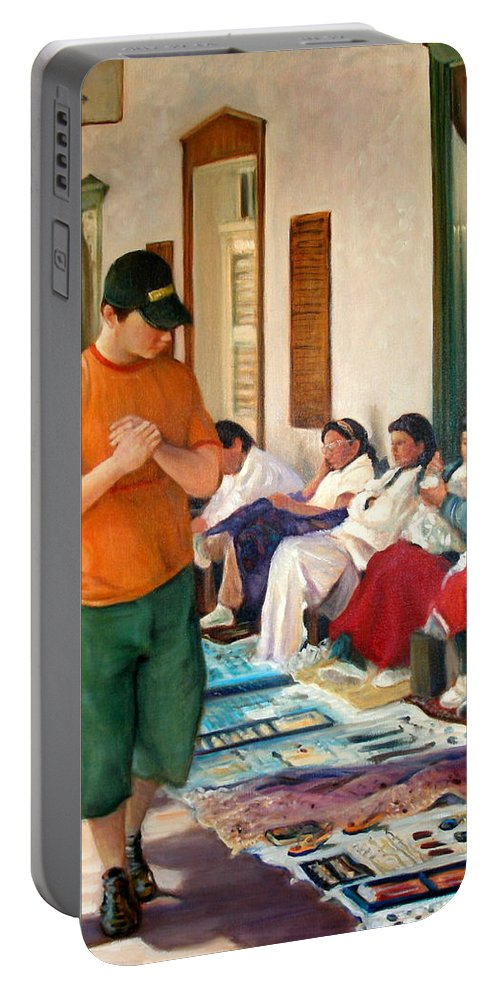Realism Portable Battery Charger featuring the painting Indian Market by Donelli DiMaria