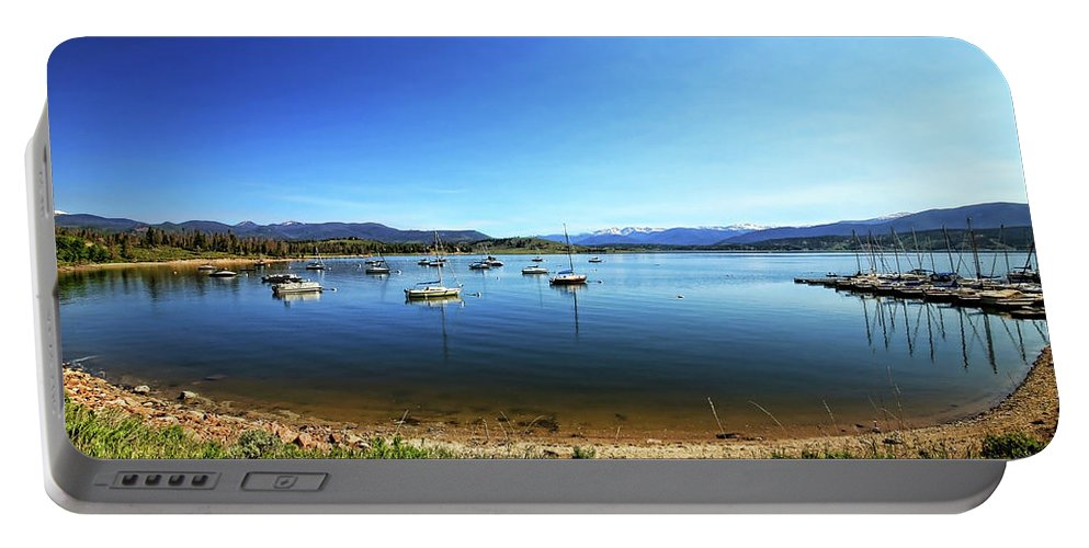 Lake Granby Portable Battery Charger featuring the photograph Indian Peaks Marina Pano by Judy Vincent