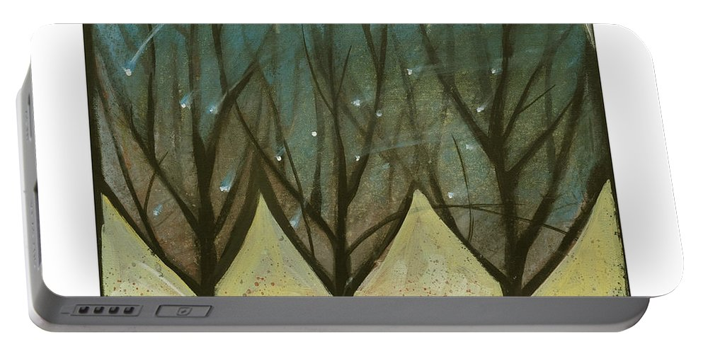 Trees Portable Battery Charger featuring the painting Indian Summer Snow by Tim Nyberg