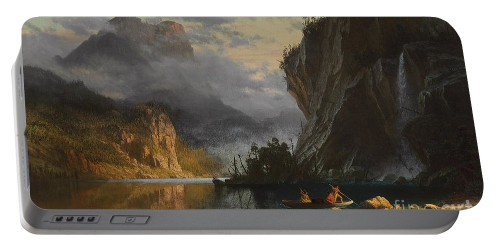 Landscape; Romantic; Romanticist; America; North America; American; North American;landscape; Rural; Countryside; Wilderness; Scenic; Picturesque; Atmospheric; Indians; Native American; Native Americans; American Indian; American Indians; Lake; River; Dramatic; Clouds; Mountains; Mountainous; Western; Rugged; Cliffs; Beach; Boat; Fishing; Spear; Spears; Waterfall Portable Battery Charger featuring the painting Indians spear fishing by Albert Bierstadt