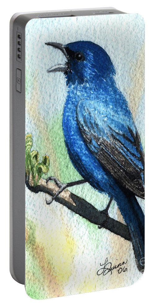 Bird Portable Battery Charger featuring the painting Indigo Bunting by Lynn Quinn
