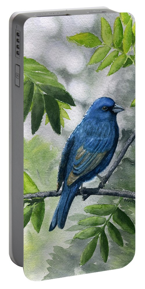 Blue Portable Battery Charger featuring the painting Indigo Bunting by Mary Tuomi