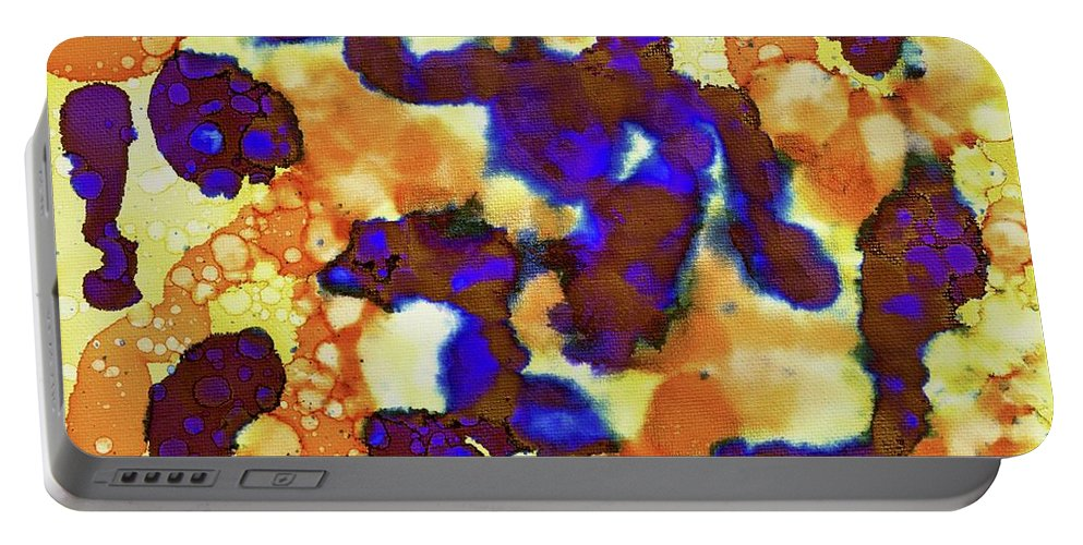 Alcohol Inks Portable Battery Charger featuring the painting Indigo Slosh - V1fs100 by Keith Elliott