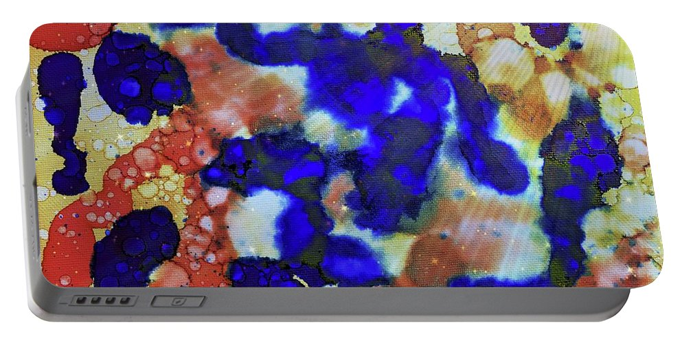 Alcohol Inks Portable Battery Charger featuring the painting Indigo Slosh - V1lllt78 by Keith Elliott