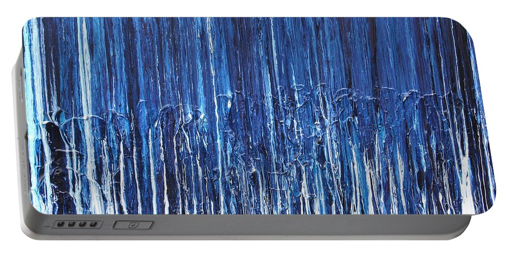 Fusionart Portable Battery Charger featuring the painting Indigo Soul by Ralph White