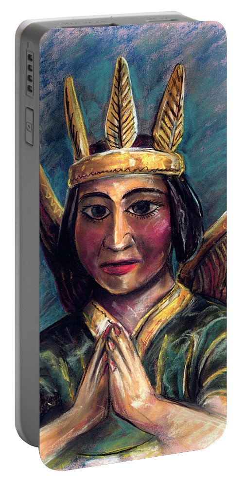 Portable Battery Charger featuring the pastel Indian Angel by Lindsey Fry