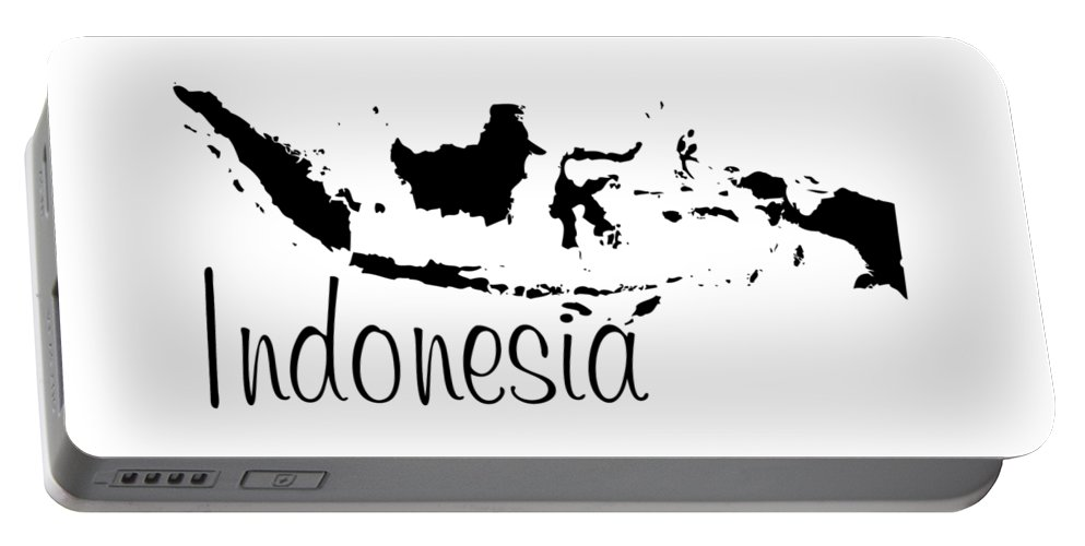 Indonesia Portable Battery Charger featuring the digital art Indonesia In Black by Custom Home Fashions