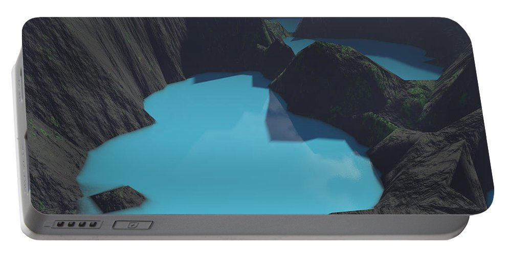 Basalt Portable Battery Charger featuring the digital art Indonesian Crater Lakes by Gaspar Avila