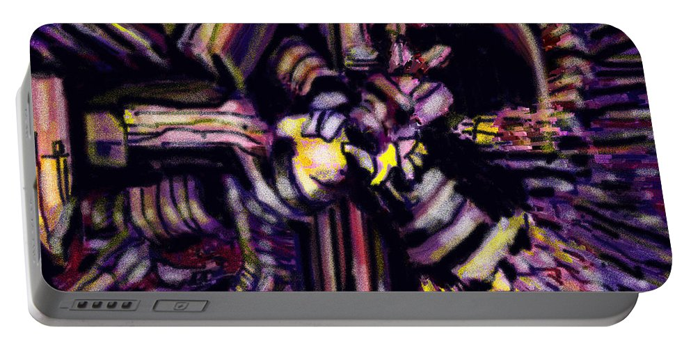 Abstract Portable Battery Charger featuring the digital art Industry by Ian MacDonald