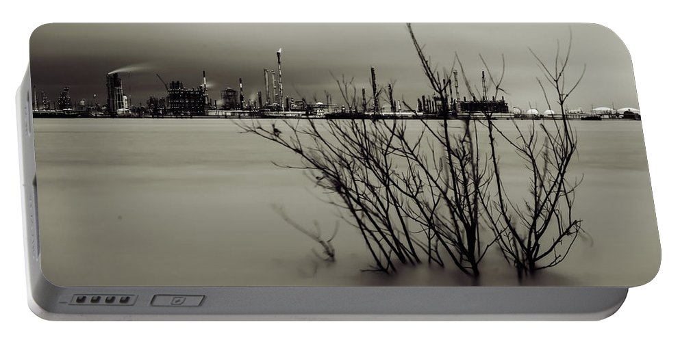 Chemical Portable Battery Charger featuring the photograph Industry On The Mississippi River, In Monochrome by Chris Coffee