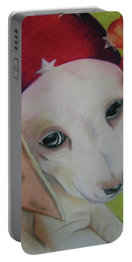 Dog Portable Battery Charger featuring the pastel Indy by Michelle Hayden-Marsan