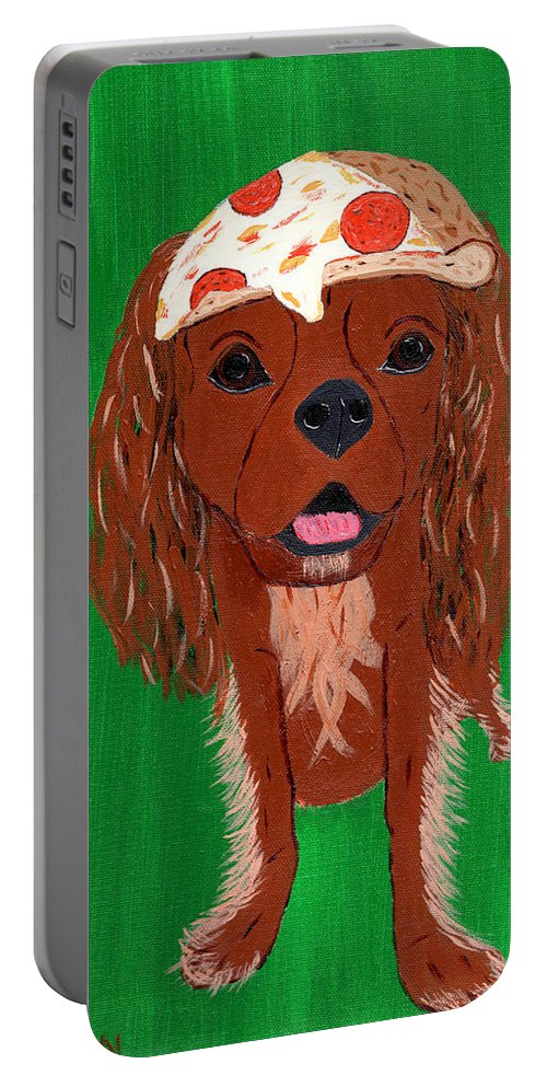 Petfood Portable Battery Charger featuring the painting Indy - Pizza by Nick Nestle