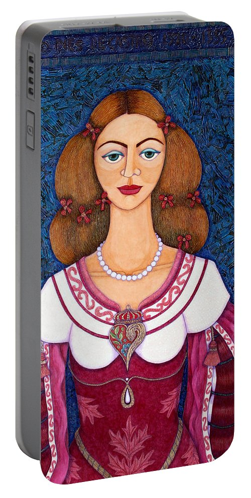 Portrait Portable Battery Charger featuring the painting Ines De Castro - The Love Crowned by Madalena Lobao-Tello