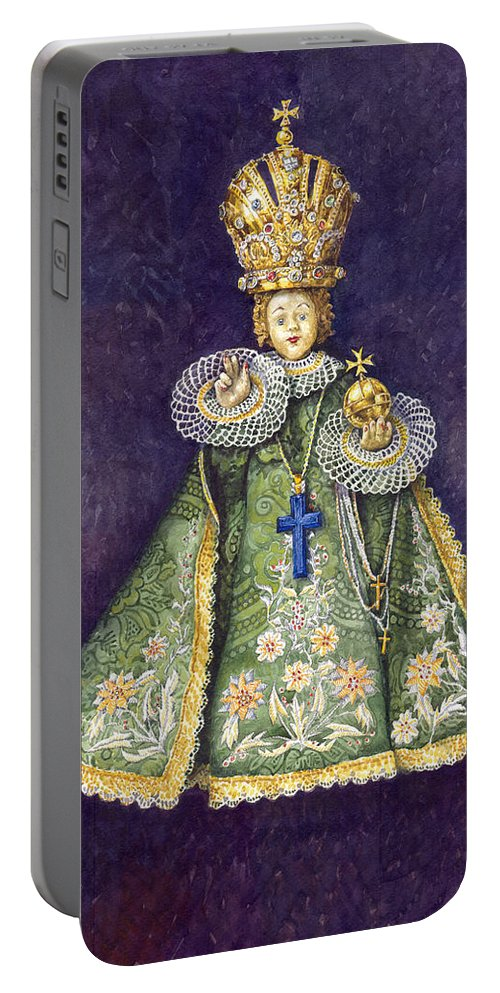 Watercolour Portable Battery Charger featuring the painting Infant Jesus Of Prague by Yuriy Shevchuk