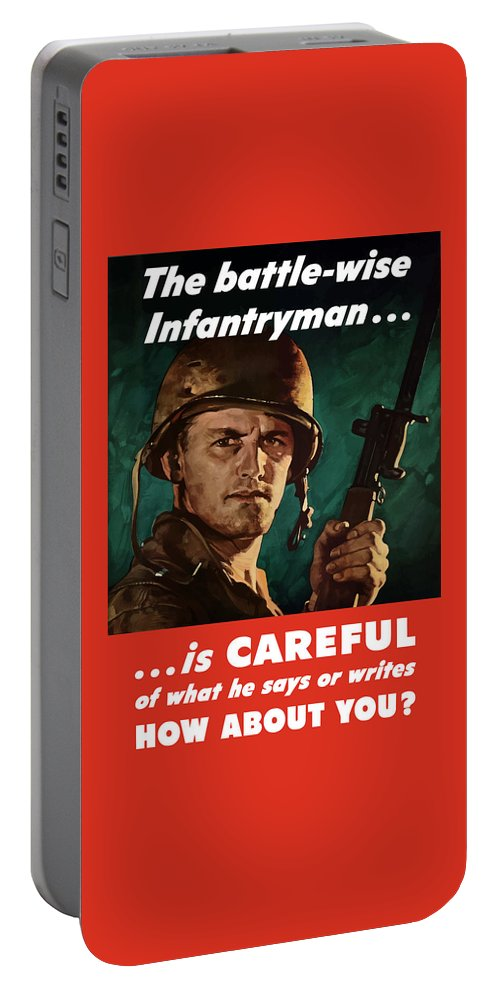 Infantryman Portable Battery Charger featuring the painting Infantryman Is Careful Of What He Says by War Is Hell Store
