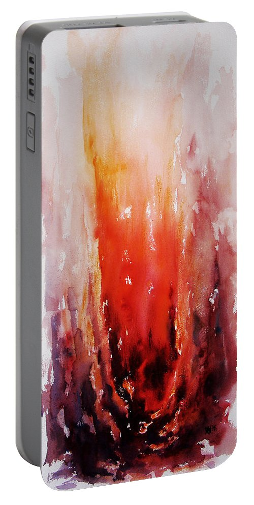 Landscape Portable Battery Charger featuring the painting Inferno by Rachel Christine Nowicki