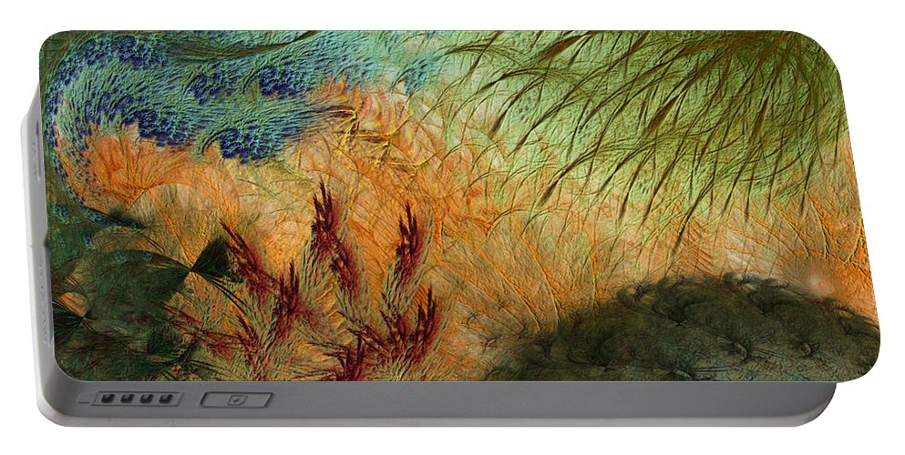 Abstract Portable Battery Charger featuring the digital art Inflammation by Casey Kotas