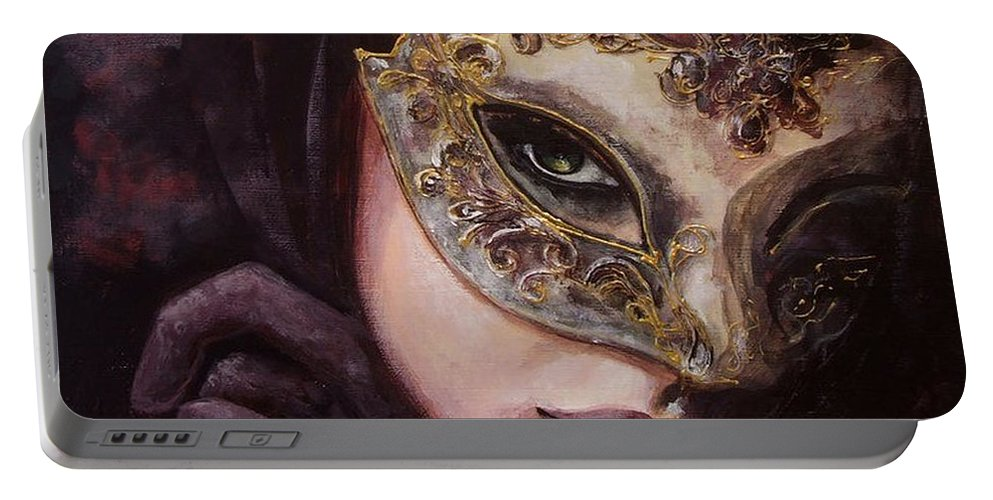Art Portable Battery Charger featuring the painting Ingredient Of Mystery by Dorina Costras
