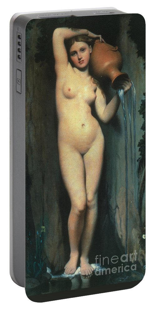 1856 Portable Battery Charger featuring the painting Ingres: The Spring, 1856 by Granger