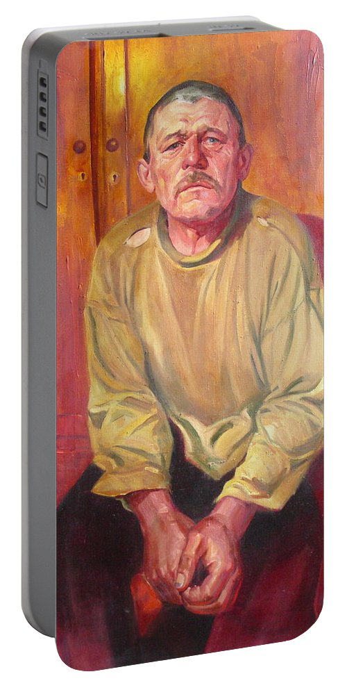 Oil Portable Battery Charger featuring the painting Inhabitant Of Chernobyl Zone by Sergey Ignatenko