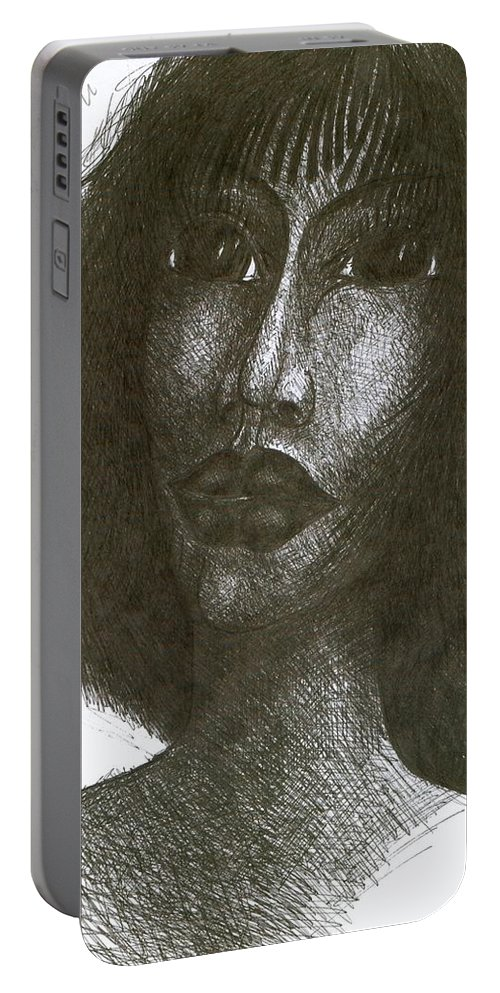 Naive Portable Battery Charger featuring the drawing Inka I by Wojtek Kowalski
