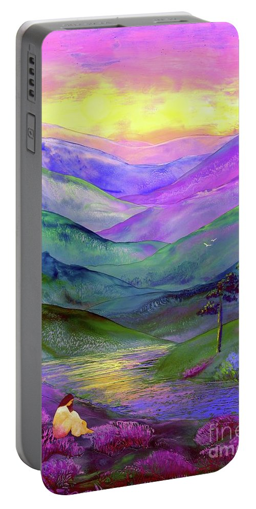 Meditation Portable Battery Charger featuring the painting Inner Flame, Meditation by Jane Small