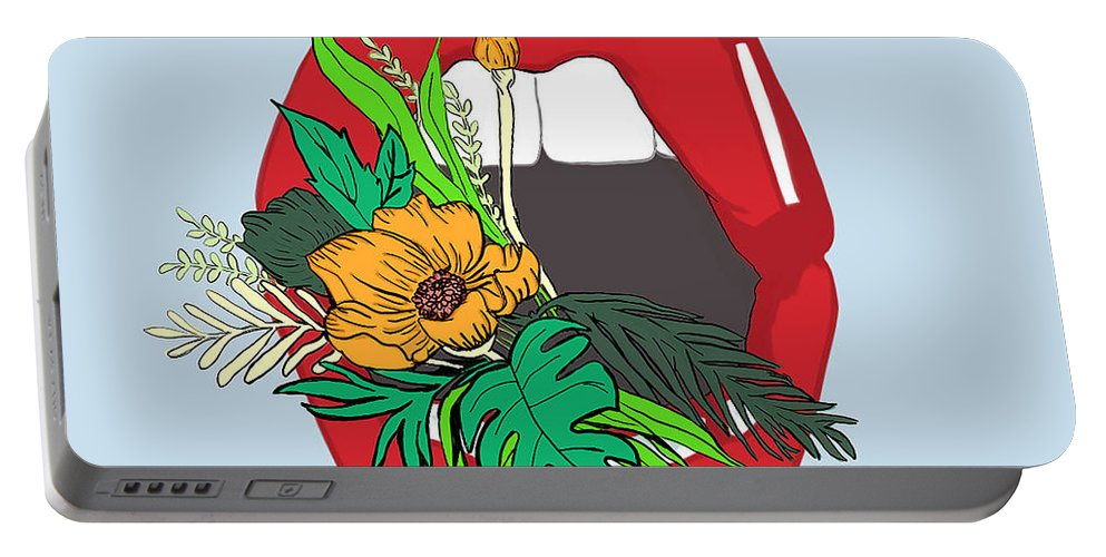 Floral Portable Battery Charger featuring the digital art Inner Oasis by Brittany Everette