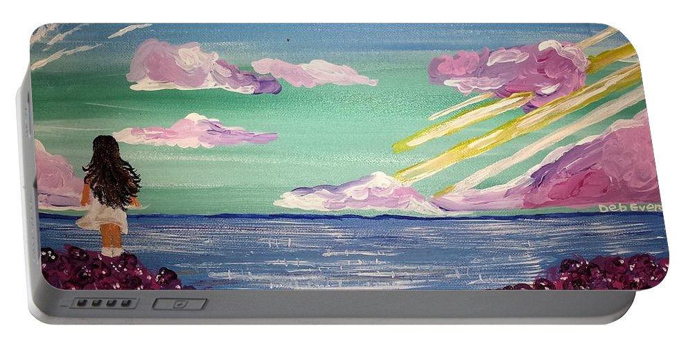 Ocean Girl Brunette Sunbeam Flowers Landscape Clouds Sparkling Water Reflection Sea Water Beach Portable Battery Charger featuring the painting Inner Reflection by Deborah Evers